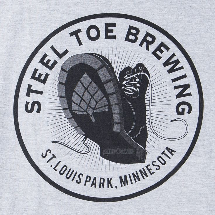 Saint Louis Park's Steel Toe Brewing has claimed NABA awards for three of their four regular brews and their venerable Size 7 IPA is well-known throughout the Twin Cities. This grey shirt is printed w