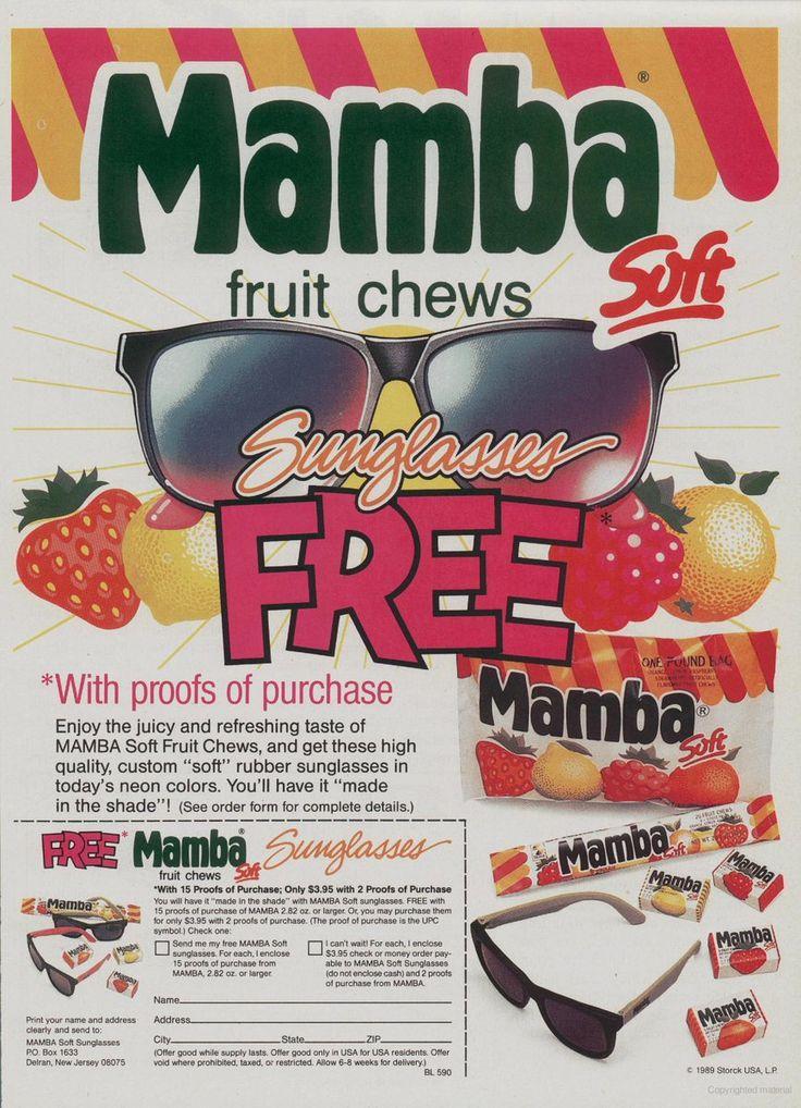 Mamba Fruit Chews, 1990.