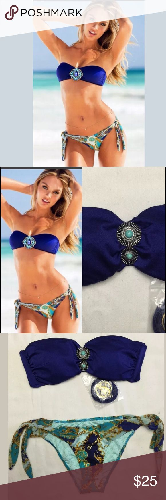 """new  VICTORIA's SECRET 2pc bikini set bathing suit NEW w/ out Price Tag. Display item Top & Bottom sz:  S/P Small Petite ‼️Different jewel piece brooch on bandeau (photo) ‼️ BANDEAU TOP                   Halter strings included                                                          Color: solid blue/purple (like magenta) Light padding (removable) Chest:  ~ 26"""" unstretched BIKINI BOTTOM Color:  Baroque & Chains in multi-color HIPSTER side ties (adjustable) partially lined  Brazilian style…"""