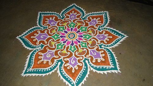 17 best images about rangoli art floor clothes on for Floor rangoli design