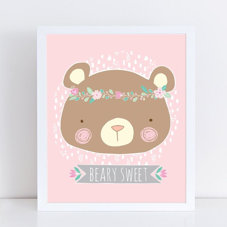 Nursery Print | Girl Room | Baby Girl Nursery | Beary Sweet | Pink Room | Nursery Wall Art | Nursery Decor | Woodland | 8x10 by ZOYU on Etsy