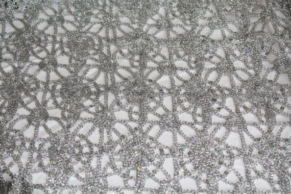 Silver Metallic Lace Table Overlay Wedding Table Overlay