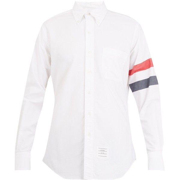 Thom Browne Long-sleeve point-collar armband oxford shirt ($470) ❤ liked on Polyvore featuring men's fashion, men's clothing, men's shirts, men's dress shirts, mens french cuff dress shirts, mens white long sleeve t shirt, mens striped long sleeve shirt, mens cotton dress shirts and mens oxford dress shirts