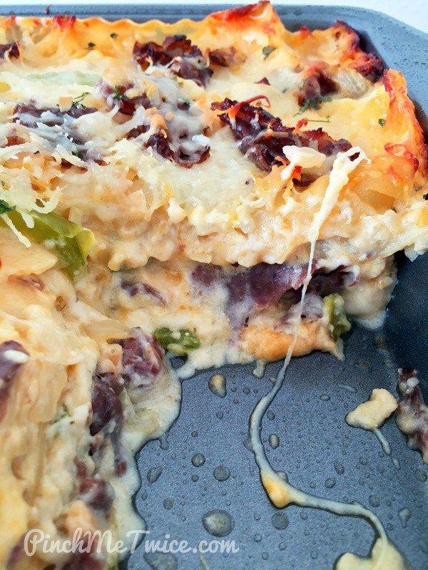 Philly Cheese Steak Lasagna - PinchMeTwice.com