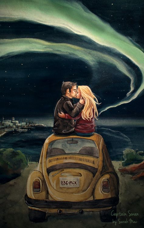 New Captain Swan watercolour with a wardrobe tweak. No idea how it's going to go in the show so this is a guess! I painted from an idea to make a companion piece to the stargazers but this time a make out session ;) The aurora borealis because I want to see it one day! There's a lovely little fic to go with this illustration by msgenevieve447, who never seems to run out of ideas and creativity. It's called Ordinary Magic. Thankyou dearie! Close up here. Other Captain Swan ...