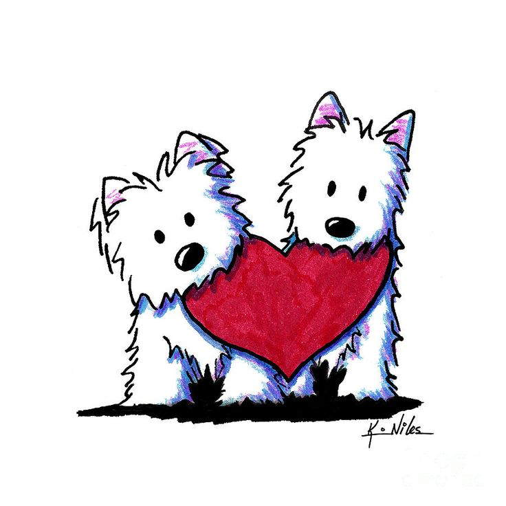 Kiniart Westie Heartfelt Duo Drawing