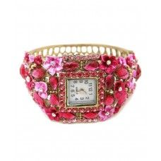 Sparkly pink diamante ornate open cuff bangle watch