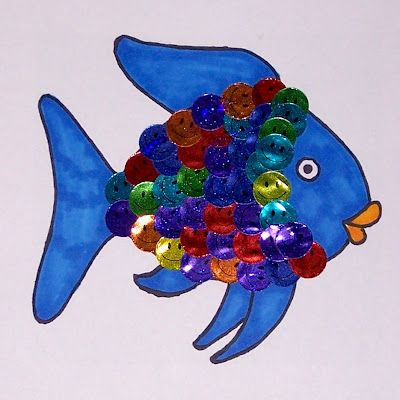 "Rainbow Fish and positive classroom behavior management... each child has their own Rainbow Fish. Give stickers out for positive reinforcement and have them ""decorate""their Rainbow fish. Once they reach a predetermined number of ""scales,"" they can swap their Rainbow Fish for a prize!"