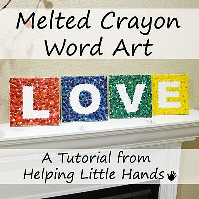 Melted Crayon Art Tutorial......LOVE this idea!  **  Did this with the kids, my 5 yr old got bored with it and my 8 yr old enjoyed it......issues with crayon wax dripping on candle and putting it out.  We'll be doing it again.  **
