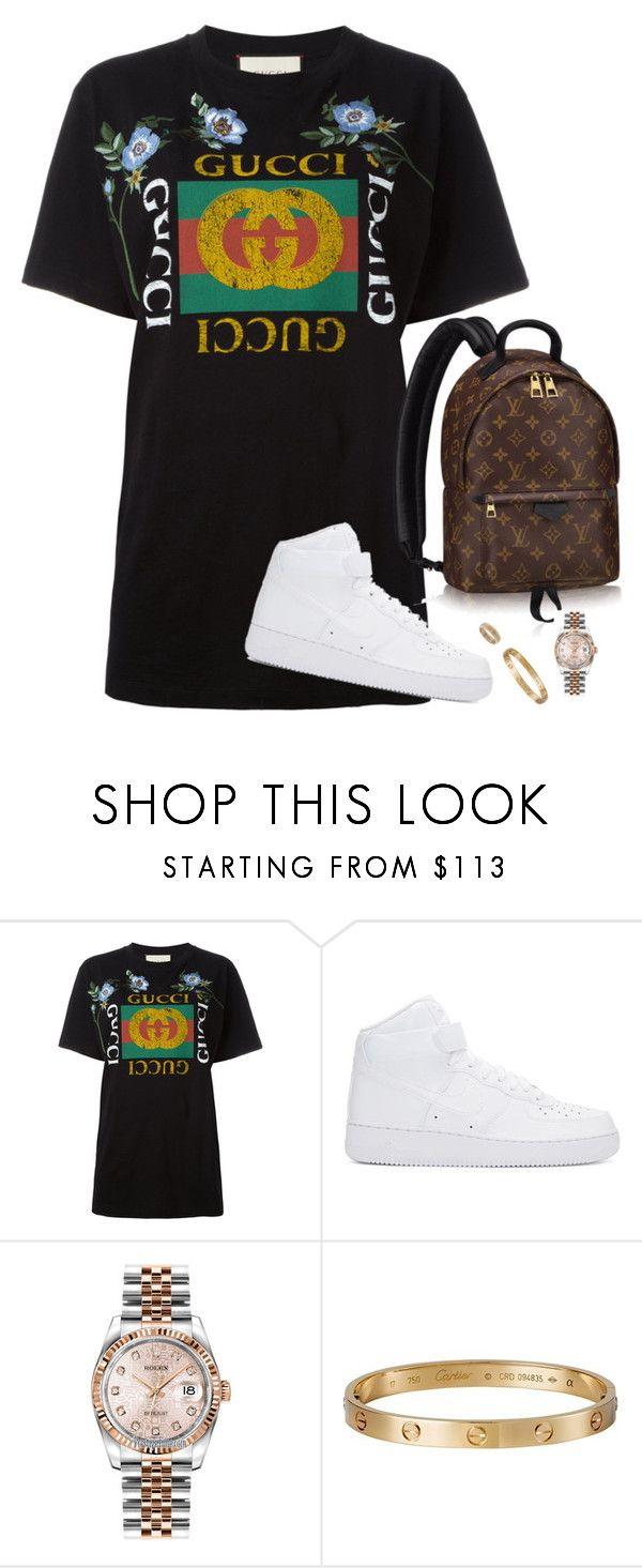 """""""bye b"""" by hosana-317 ❤ liked on Polyvore featuring Gucci, NIKE, Louis Vuitton, Rolex and Cartier"""
