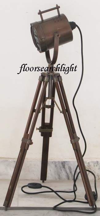 NAUTICAL BROWN ANTIQUE SEARCHLIGHT W/ TRIPOD STAND SPOT LIGHT STUDIO TABLE LAMP,