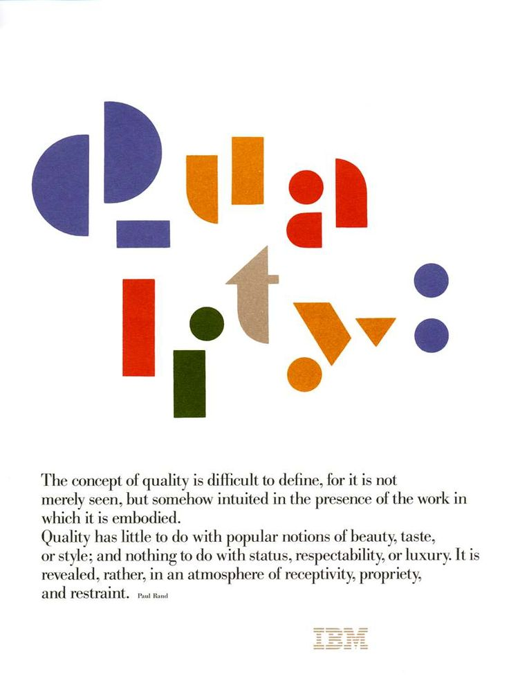 91 best ibm images on pinterest ibm computers and history quality poster by paul rand for ibm the concept of quality is fandeluxe Gallery