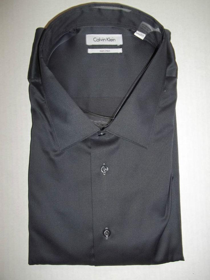 Calvin Klein Big Tall No Iron Carbon Black Dress Shirt
