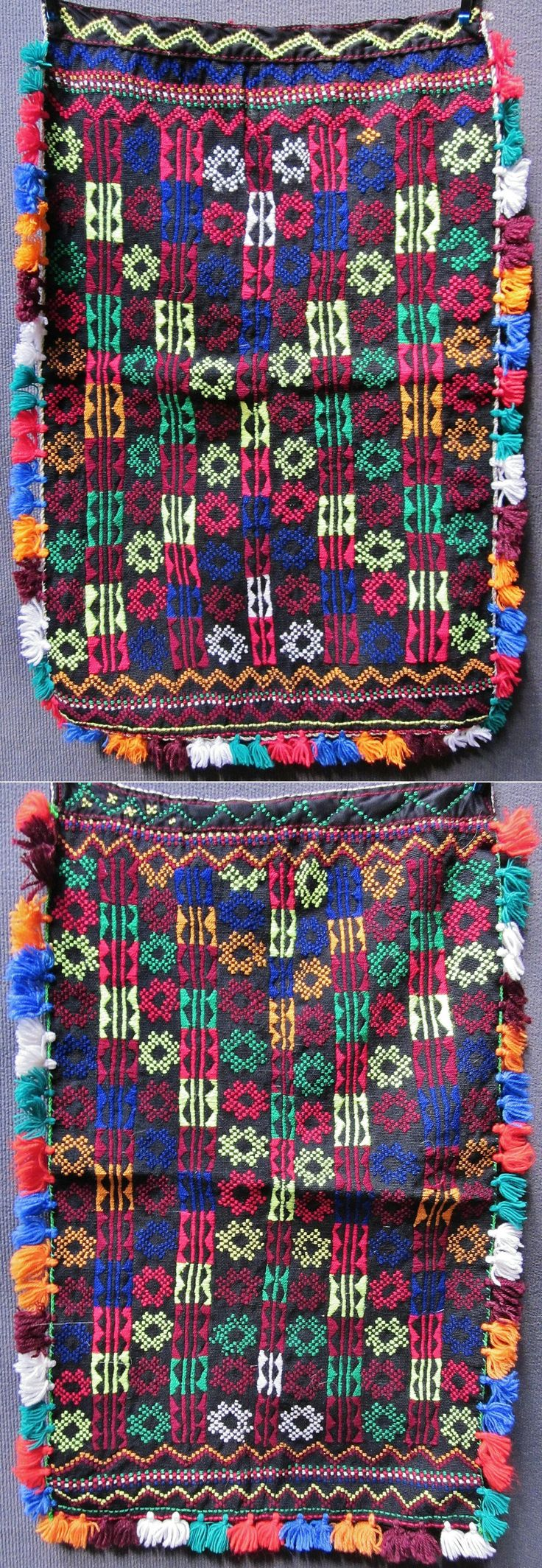 Two traditional woollen 'önlük' (apron) from the Tokat province.  Rural, Alevi Türkmen, ca. 1975. century.  Edged with multicoloured woollen tassels.  The multicoloured design is not embroidered, but woven (in 'zili'-technique).  (Inv.nr. önL012&013 - Kavak Folklor Ekibi & Costume Collection-Antwerpen/Belgium).