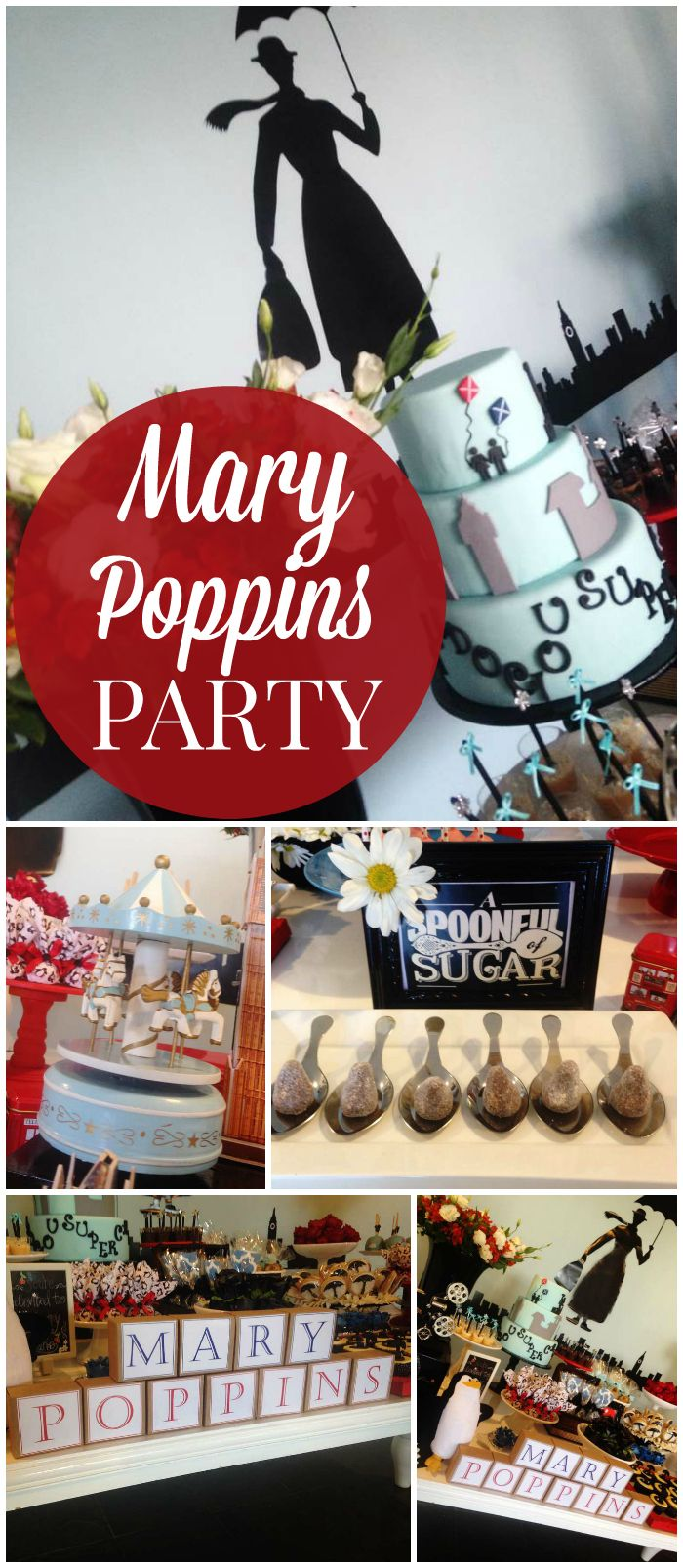 What a great Mary Poppins party with amazing decor! See more party ideas at CatchMyParty.com!