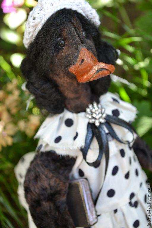 Купить Романтичная уточка. - черно-белый, утка, птица, шёлк, Папье-маше, колекционная кукла
