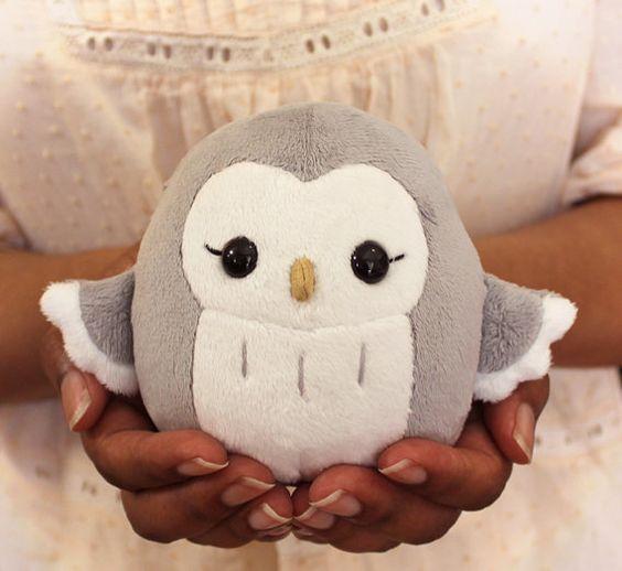 PDF sewing pattern – Owl plush toy – easy kawaii stuffed animal cute anime DIY plushie 4.5″ – soft toy softie TeacupLion