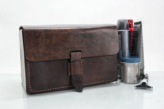 Leather Toiletry Bag Men's Toiletry Bag by WhiteBuffaloRepublic