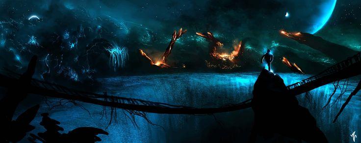 Duvar Kağıdı Sanat, Alberto Vangelista, Rock, Karanlık, Gezegenler, Insanlar, Yangın