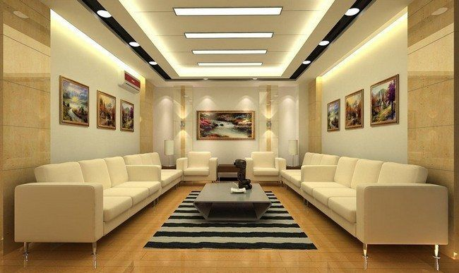 square plasticboard ceilinf with wooden beams