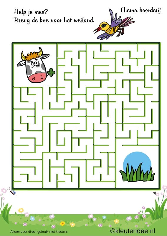 Breng de koe naar de wei, thema boerderij, kleuteridee , Preschool game, farm theme, free printable,
