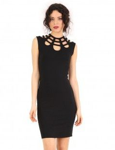 Black open back dress with cut out details