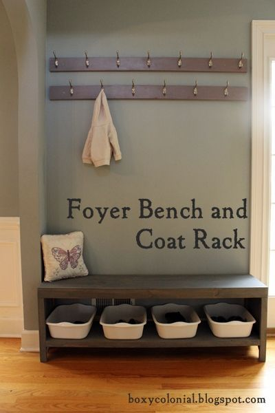 "This is the idea that I have for our mudroom! I would just add storage ""bins"" above the coat rack for hats and gloves!"