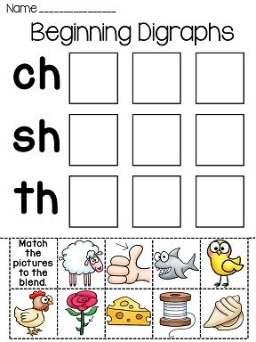 Digraphs worksheets - sorting ch sh and th words - also in black and white!