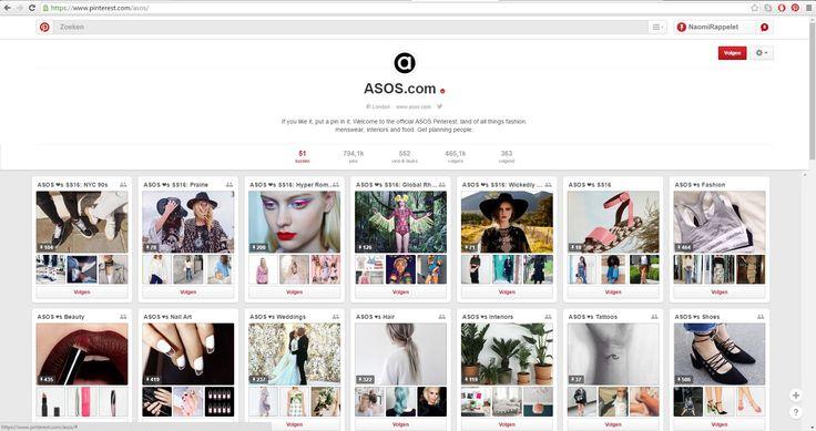 Asos, een online kleding- en beautyshop stellen niet enkel hun kledij voor op Pinterest, maar ook welke make-up, tatoeages, nagels, haarstijlen of zelfs huisstijlen bij je kledij passen! Het is een handige verzameling om de perfecte look samen te stellen, of om gewoon inspiratie op te doen! https://www.pinterest.com/asos/