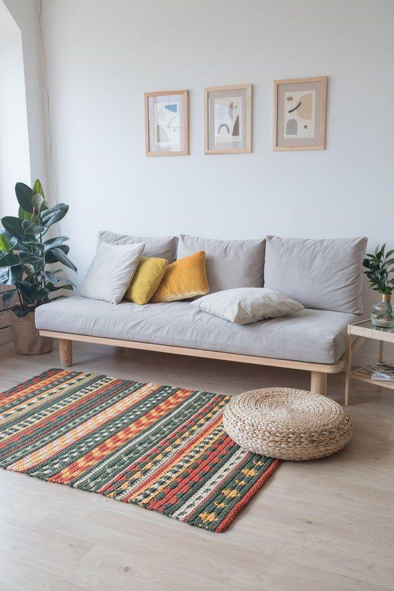 Orange And Green Area Rug Crochet Rug Pattern Designed By Belkin Home Decor Rug Pattern Home Decor