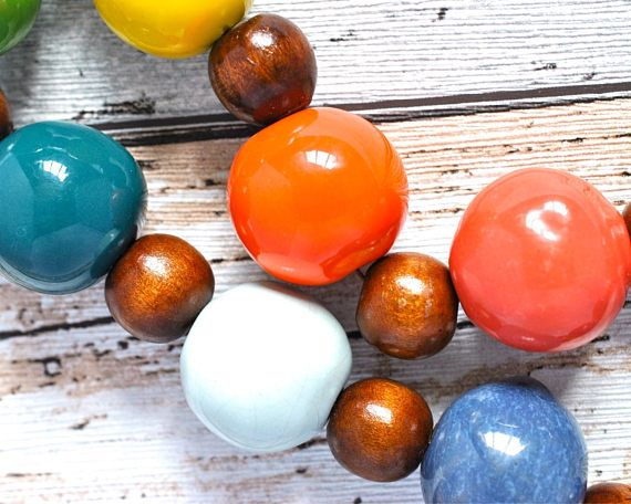 Chunky Bead Rainbow Necklace - Large Bead Kazuri Necklace - LGBT Pride Necklace - Rainbow Bead LGBTQ Necklace - Statement Necklace - Wood thecoastaldesert The Coastal Desert handmade jewelry jewellery