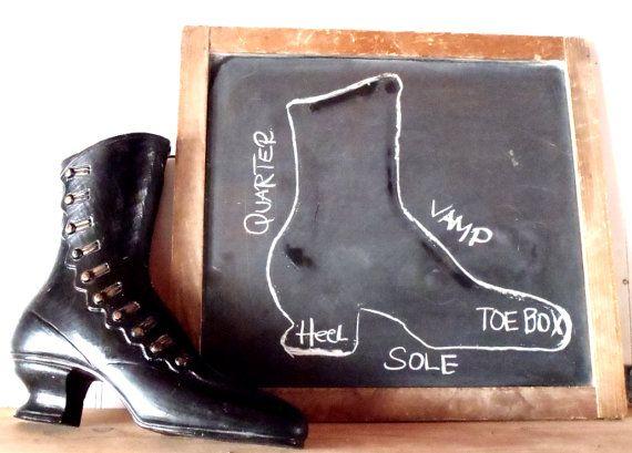 Vintage Shoe Cobbler Black Victorian Boot Mold Sign