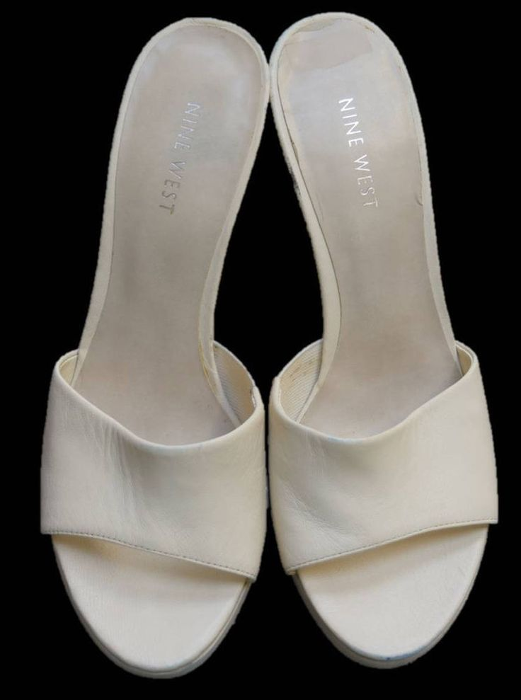 NINE WEST Off White Leather Mules Margara Sandals Architectural Heel Size 7.5  | Clothing, Shoes & Accessories, Women's Shoes, Heels | eBay!