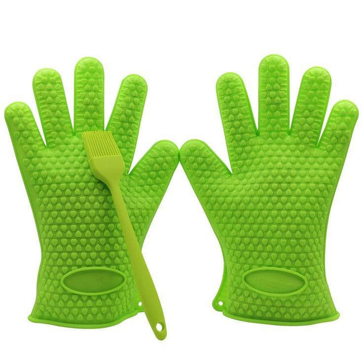 Silicone Heat Resistant Grilling BBQ Glove Set with a BBQ Grill Silicone Basting Brush -- Use As Potholder - Protective Oven, Grill, Baking, Smoking and Cooking Gloves