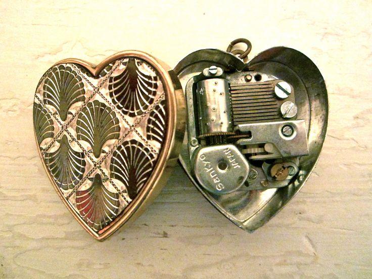 44 best antique music box images on pinterest antique music box unique vintage music box heart pendant by baileyemu on etsy aloadofball Images