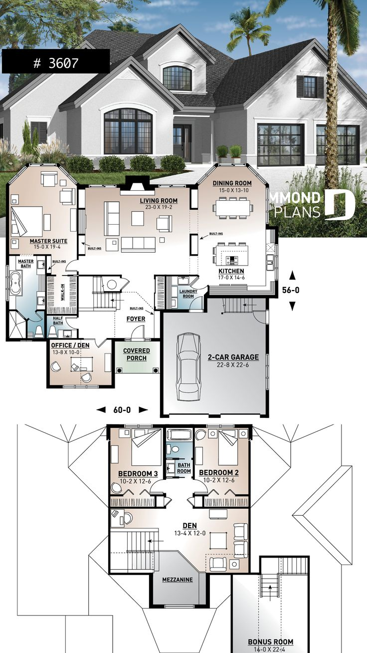 Florida style home plan with ensuite and 4 bedrooms