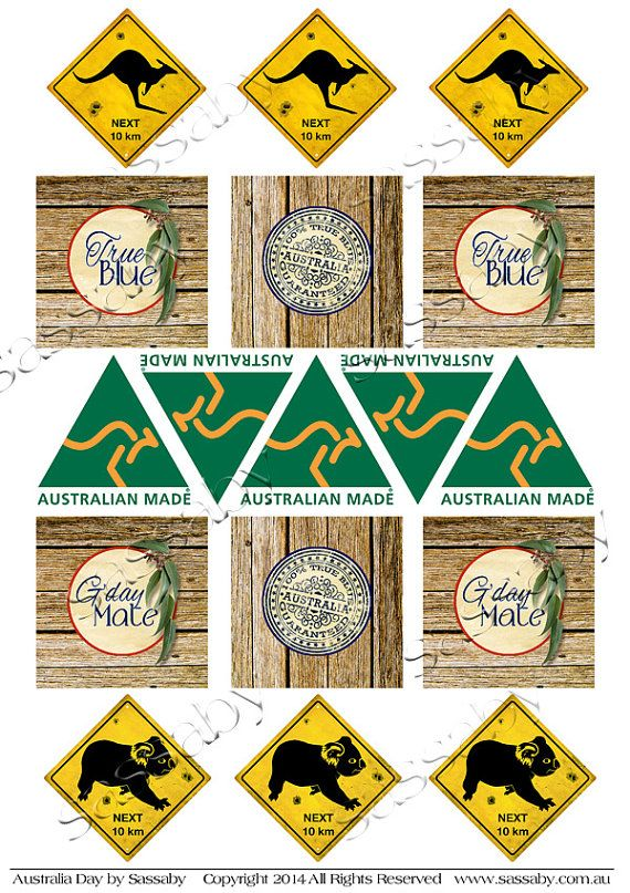 Australia Outback Party Food Cupcake Toppers INSTANT by Sassaby