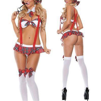 School Girl Costume Sexy Lingerie Uniform Halloween Cosplay Fancy Dress
