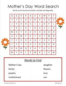 FREE Mother's Day word search worksheet.