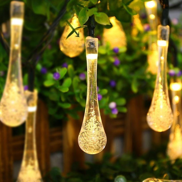 Solar Powered String Lights, 20ft 30 LED Water Drop Waterproof Christmas Patio…