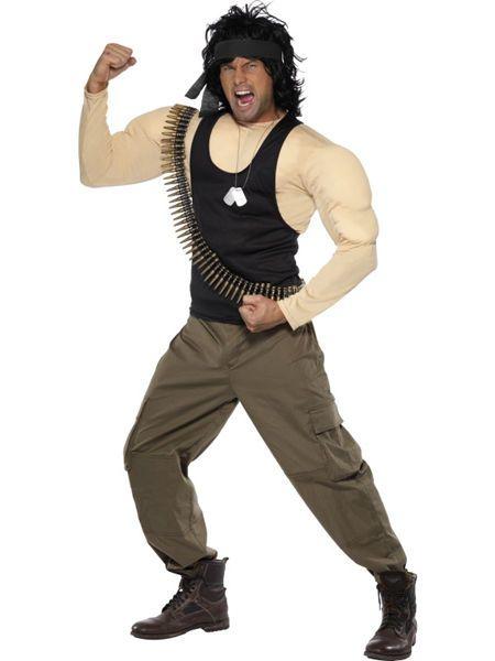 Naamiaisasu; Rambo – Taistelija  Lisensoitu Rambo Taistelijan asu standardikokoisena ( max. 185 cm pitkälle ). Vietnamin veteraani, Armeijan erikoisjoukkojen sotilas ja aivan älyttömän kova jätkä. #naamiaismaailma