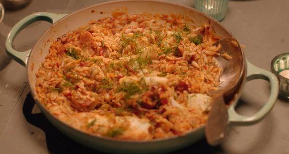 Nigella Lawson squid and orzo pasta recipe on Simply Nigella