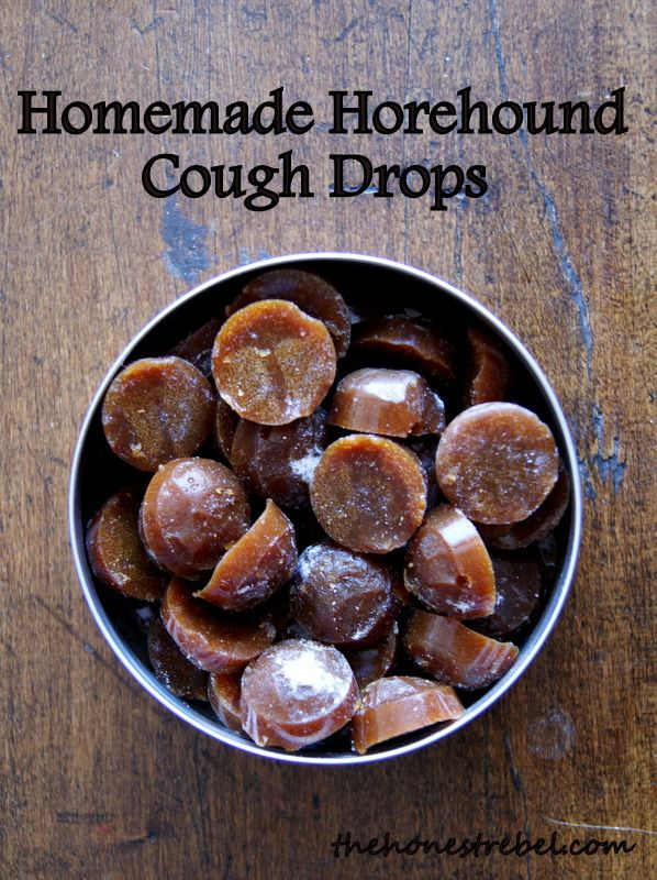 Old fashioned homemade Horehound Cough Drops with honey and maple syrup. Full recipe at www.thehonestrebel.com