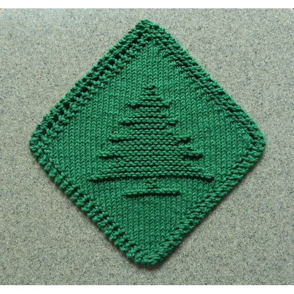 Christmas Tree Dish Cloth Knitted On The Diagonal Dark Green In 2020 Dishcloth Knitting Patterns Knitting Patterns Knit Dishcloth Pattern