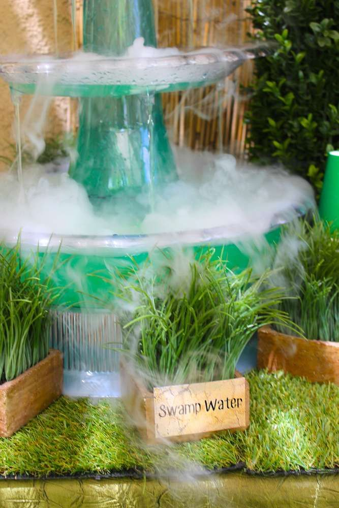 Swamp water at a dinosaur birthday party! See more party planning ideas at CatchMyParty.com!