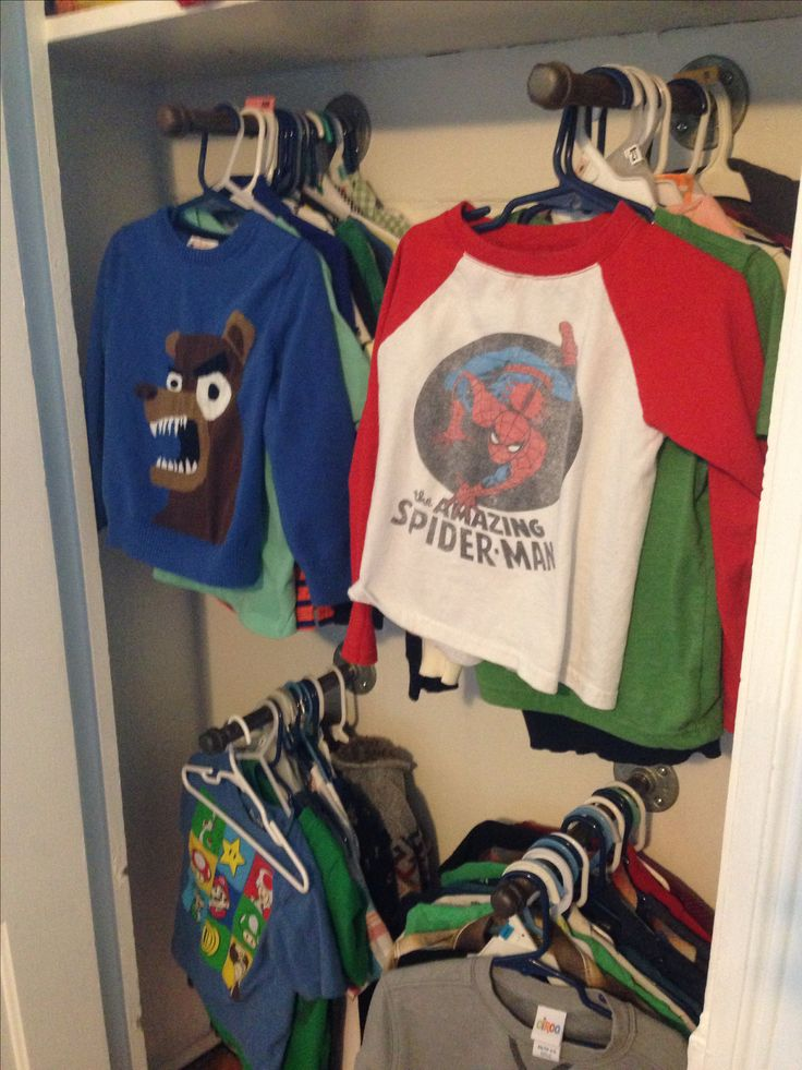 """Put up piping in the closet to hang up shirts. Our closet space was too narrow to hang up clothes the """"normal"""" way."""