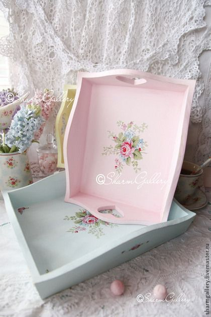shabby chic trays -blue and pink - with roses