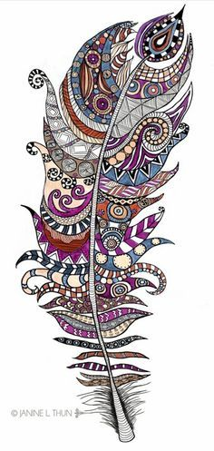 Zentangle inspired Feather, Doodle, 2013, © Janine L. Thun see more on http://wondering-in-wonderland.blogspot.de Colorful Mandalas