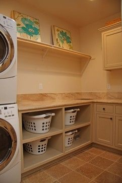 laundry room....like the hanging rod, easy and inexpensive to do.