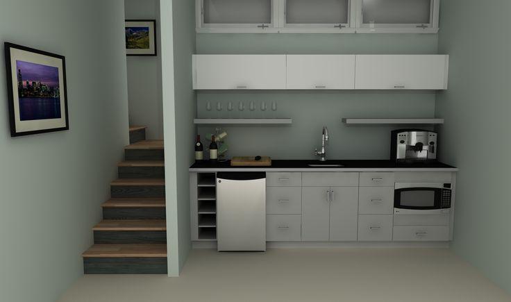 An IKEA basement kitchenette with high-gloss doors in ABSTRAKT WHITE.